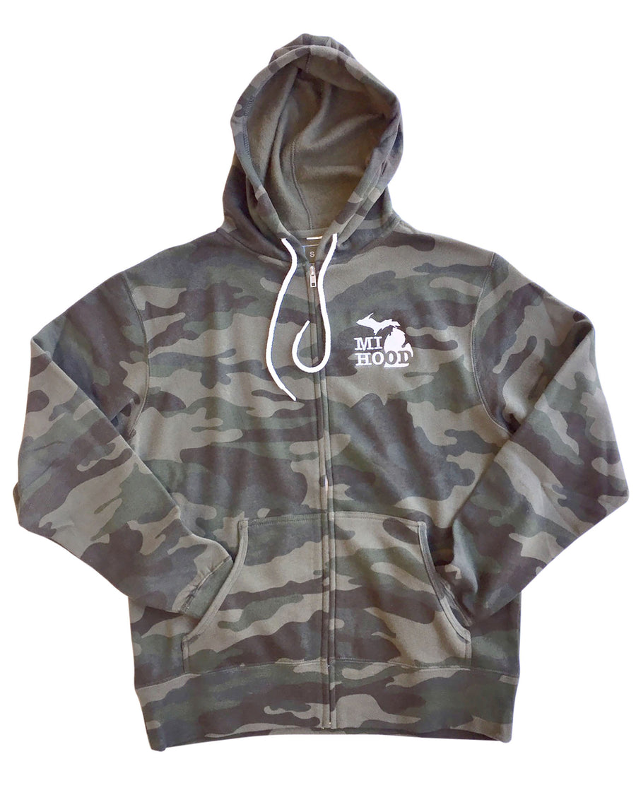 MI Hood Faded Camo Zip Up Hoodie