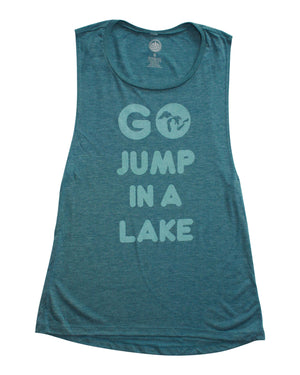 Go Jump In A Lake - Women's Flowy Scoop Muscle Tank - Heather Teal