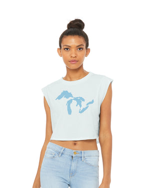 Great Lakes Waves Crop Festival Tank Top - Ice Blue