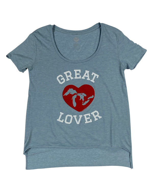 "Great ""Lakes"" Lover - Women's Scoop neck T-Shirt - Stonewash Denim"