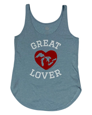 "Great ""Lakes"" Lover Women's Festival Tank Top - Stonewash Denim"