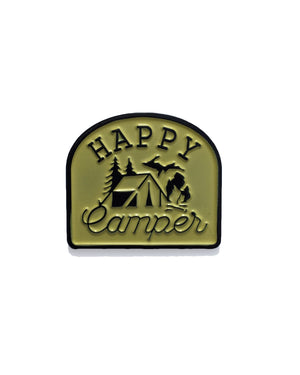 Happy Camper Light Yellow and Black Enamel Pin