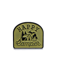 Happy Camper Light Yellow and Black Enamel Pin - The Great Lakes State