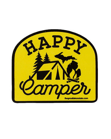 Happy Camper Michigan Sticker