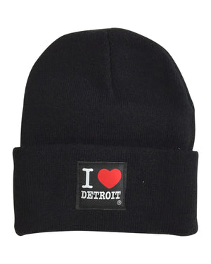 I Love Detroit - Knit Beanie with Cuff - Black