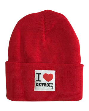 I Love Detroit - Knit Beanie with Cuff - Red