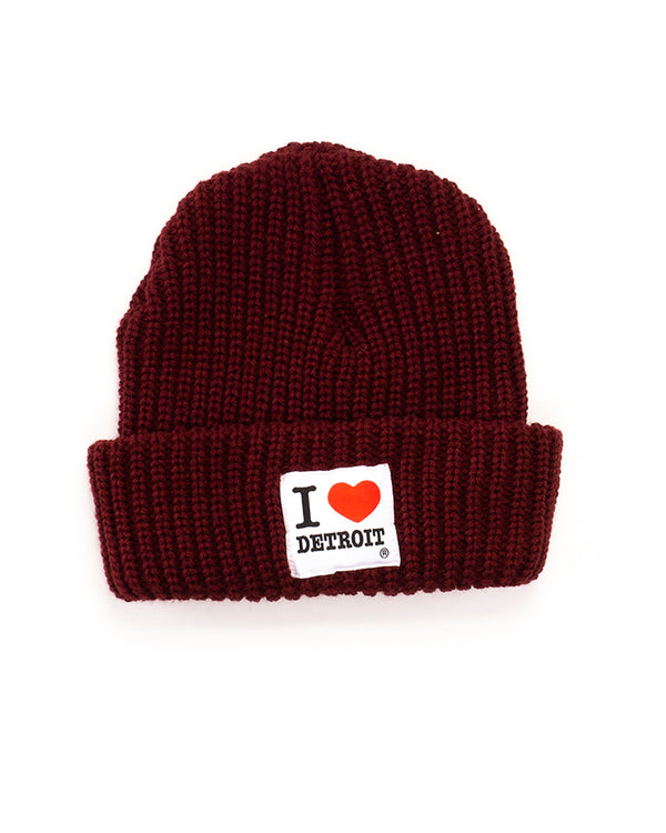 I Love Detroit - Lumberjack Knit Cap with Cuff - The Great Lakes State