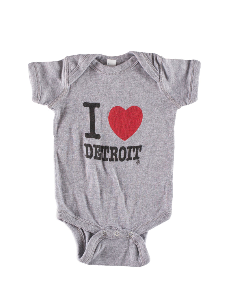 I Love Detroit Onesie - Gray - The Great Lakes State