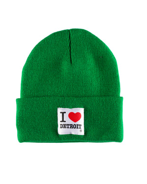 I Love Detroit - Green Knit Hat