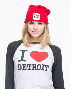I Love Detroit - Oversized Knit Beanie - The Great Lakes State