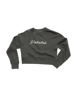 Detroitish Retro Women's Fleece Cropped Crewneck - Charcoal Grey