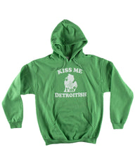 Kiss Me I'm Detroitish - Hoodie - Heather Green - The Great Lakes State