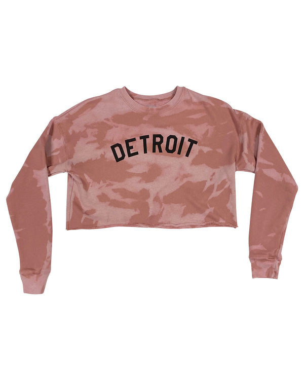 Limited Edition Basic Detroit Women's Mauve Reverse Tie Dye Cropped Fleece Sweatshirt