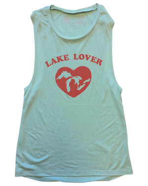 Lake Lover Women's Muscle Tank Top - Dusty Blue