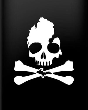 Michigan Skull & Bones Extra Large Vinyl Decal Sticker