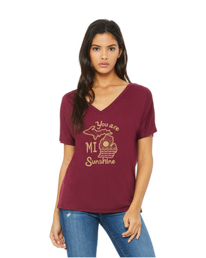You Are Mi Sunshine - Women's Souchy Fit  V-Neck T-Shirt - Maroon