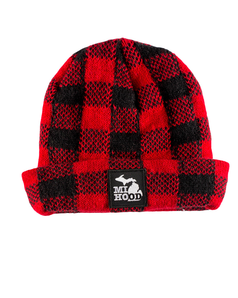 MI Hood - Knit Hat - Buffalo Plaid Flannel - The Great Lakes State