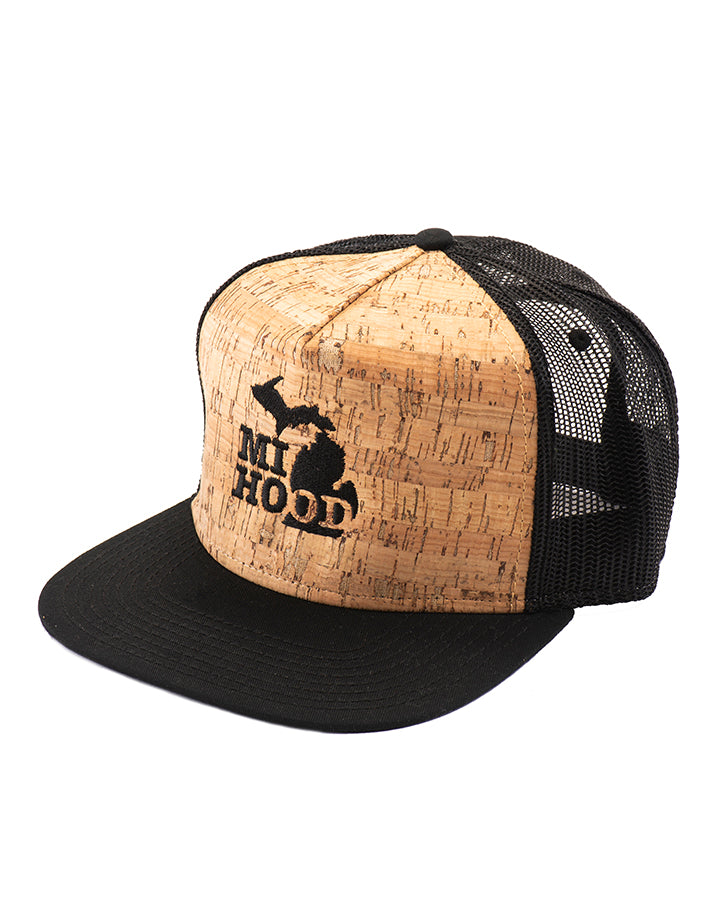 db3d1c2cd6c MI Hood Cork   Black Mesh Snapback - The Great Lakes State
