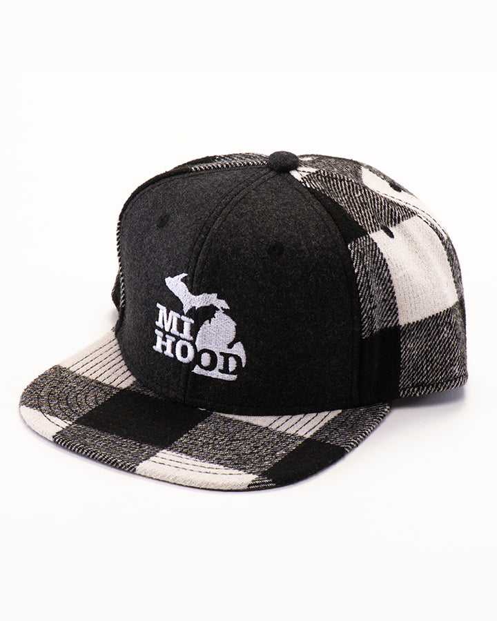 4e41a671604 MI Hood Plaid Lumberjack Snapback Hat - The Great Lakes State