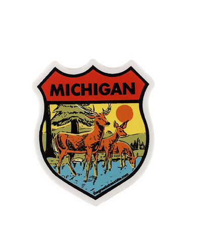 Michigan Deer Shield Sticker - The Great Lakes State