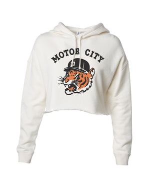Motor City Kitty Crop Hoodie - Bone
