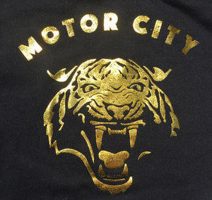 Motor City Cat Hoodie - Gold Foil Print - The Great Lakes State