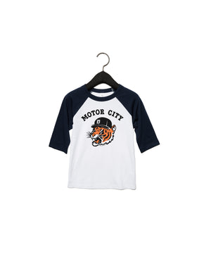 Motor City Kitty - Toddler Baseball T-Shirt - Black