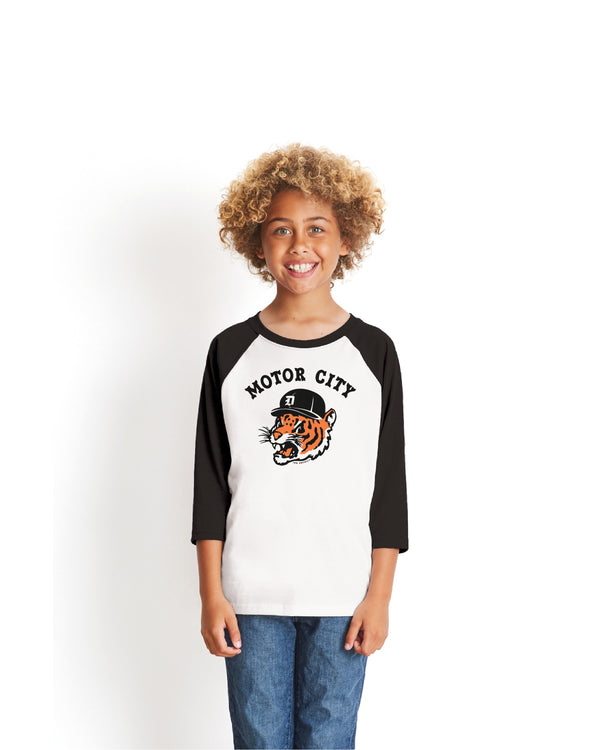 Motor City Kitty Youth 3/4 sleeve baseball T-Shirt - Black