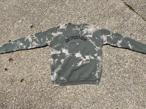 Reverse Dye Detroitish Military Green Crewneck Sweatshirt Limited Edition
