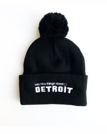 Say Nice Things About Detroit Pom Pom Beanie