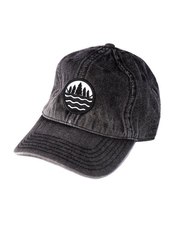 bb0e9b35e37 The Great Lakes State Snow Washed black denim Emblem Dad Hat ...