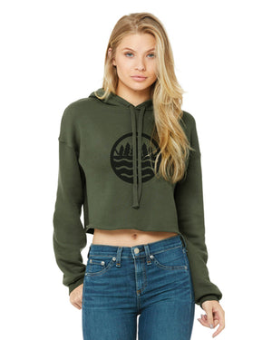 The Great Lakes State - Crop Fleece Hoodie - Olive Green