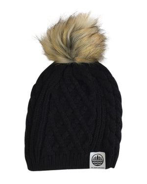 TGLS Knit Cable Beanie with Faux Fur Pom - Black