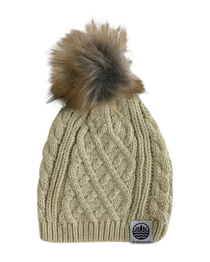 TGLS Knit Cable Beanie with Faux Fur Pom - Chino