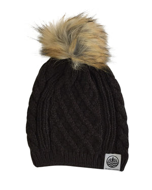 TGLS Knit Cable Beanie with Faux Fur Pom - Chocolate Brown