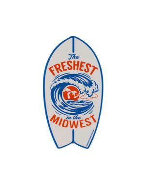 The Freshest in the Midwest Surfboard Sticker