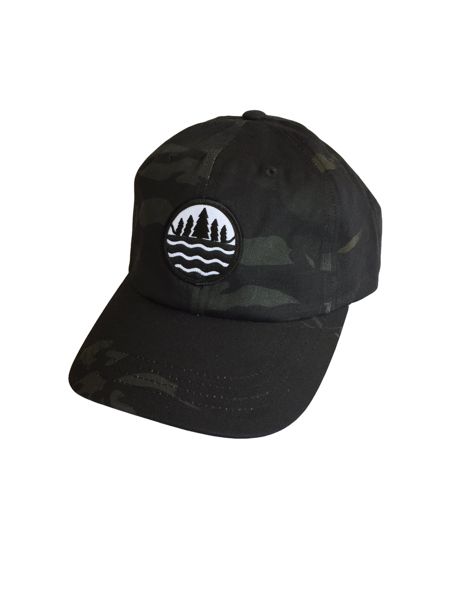 The Great Lakes State black low profile Multicam camo cap