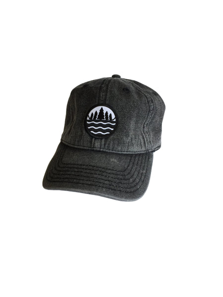 Snow Washed black denim TGLS Emblem Dad Hat - The Great Lakes State