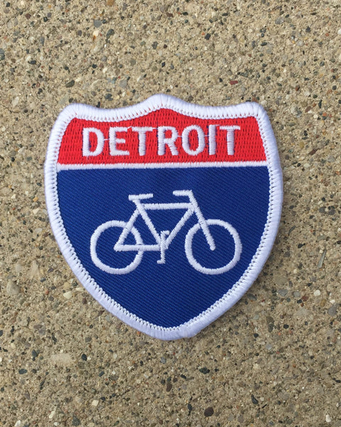 Detroit Bike Highway Iron on Patch - The Great Lakes State