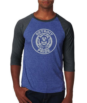 Detroit Football Pride - Unisex Tri-Blend 3/4 Sleeve Raglan T-Shirt- Royal Blue
