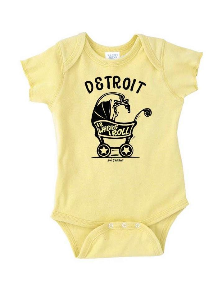Detroit Is Where I Roll Baby Carriage Onesie - Banana - The Great Lakes State