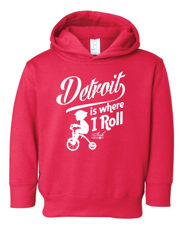 Detroit Is Where I Roll - Toddler Hoodie - Red - The Great Lakes State