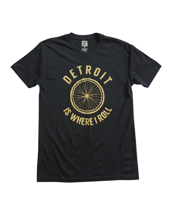 Detroit Is Where I Roll Unisex T-Shirt - Black