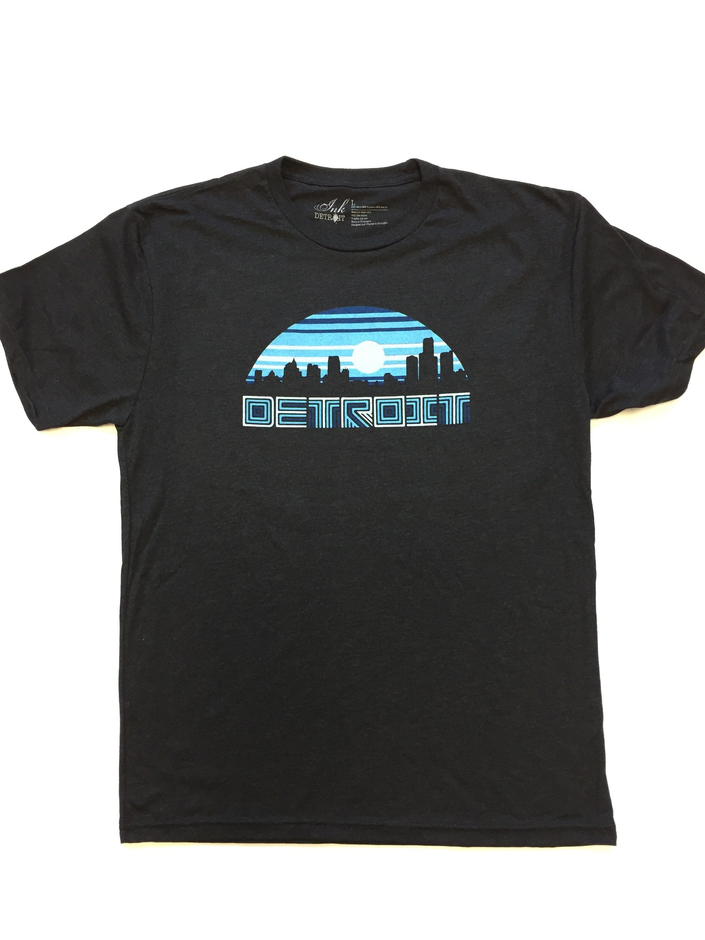 Detroit Night Vibes - Black - Tri-Blend T-Shirt - The Great Lakes State