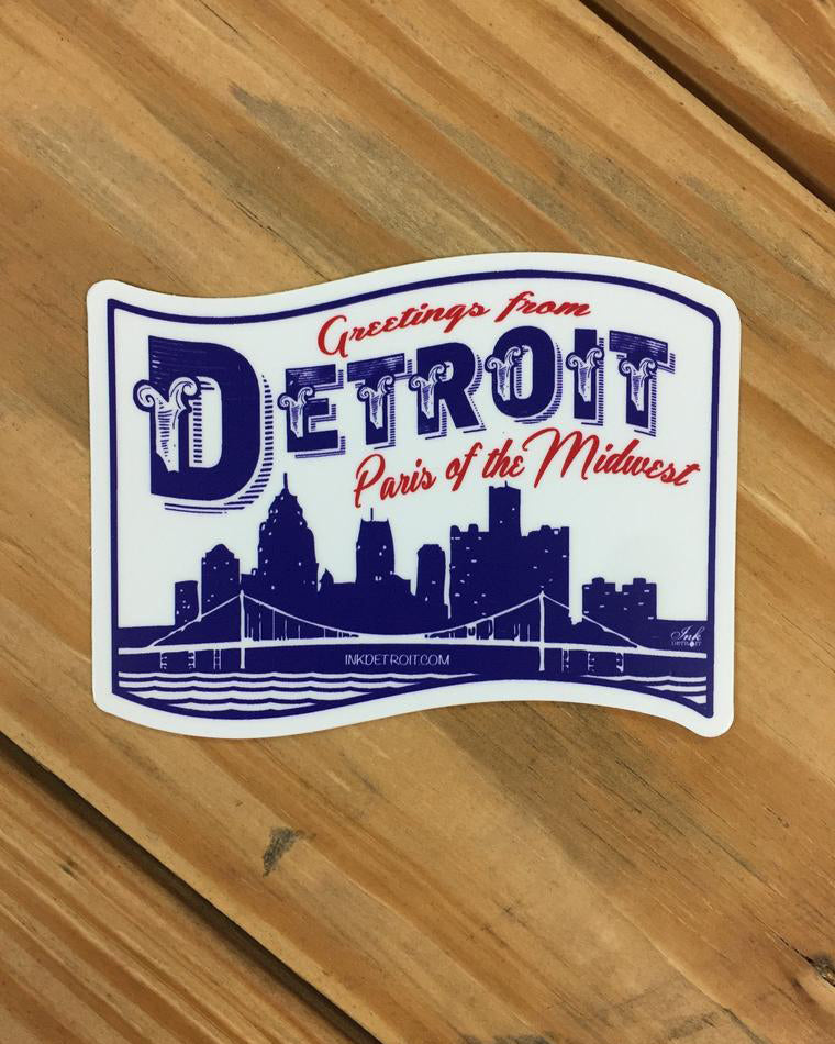 Detroit paris of the midwest vinyl die cut bumper sticker the great lakes state