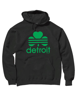 Detroit Retro Cloverleaf - Hoodie - Black - The Great Lakes State