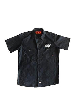 Detroit Skull - Dickies Short Sleeve Work Shirt - Black with White