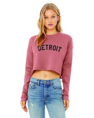 Basic Detroit Women's Cropped Fleece Crewneck Sweatshirt