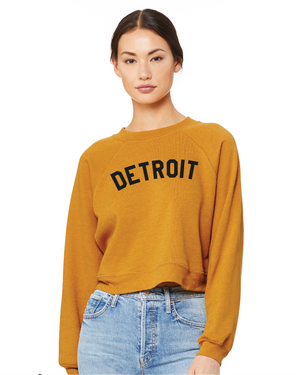 Basic Detroit Women's Raglan Pullover Fleece Sweatshirt - Mustard