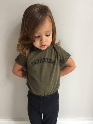 Detroitish Baby Onesie - Military Green